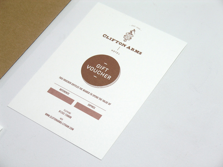 Gift voucher with copper ink print treatment designed by Wash for the Clifton Arms Hotel