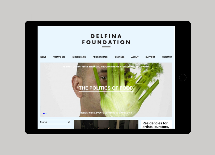 visual identity and website created by Spin for creative exchange and artistic development network Delfina Foundation