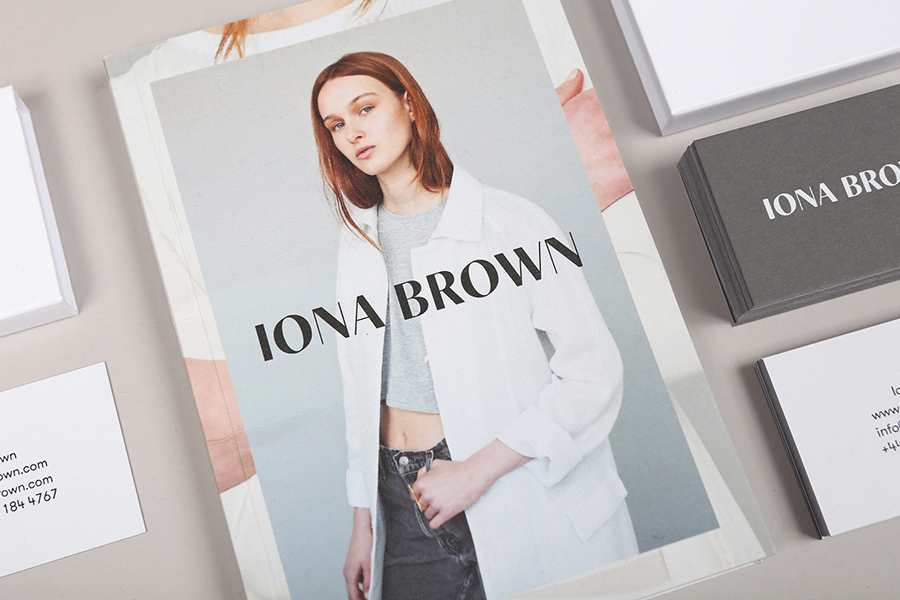 Logo, print and packaging with black block foil detail for contemporary jewellery designer Iona Brown