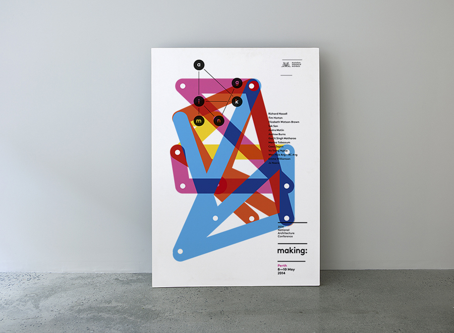Poster designed by Garbett for the Australian Institute of Architects' 2014 conference Making