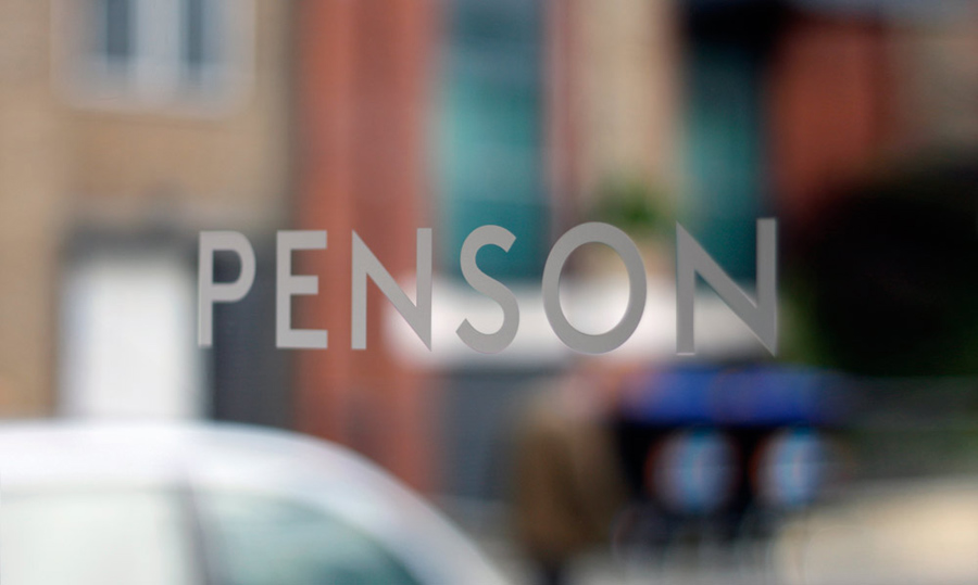 Logotype and signage for interior design firm Penson Group created by She Was Only