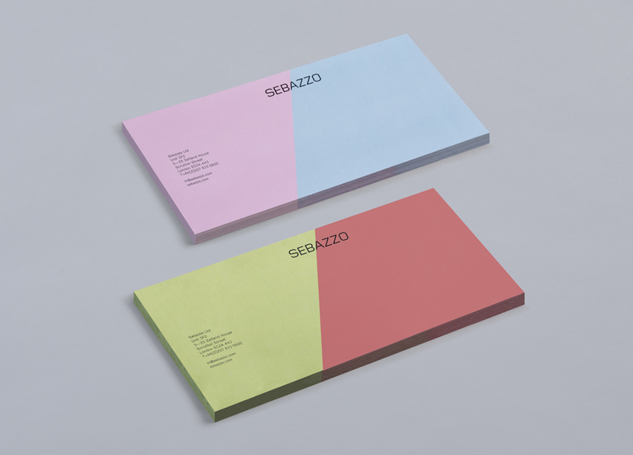 Logo and compliment slip with full colour detail designed by Bunch for digital design studio Sebazzo