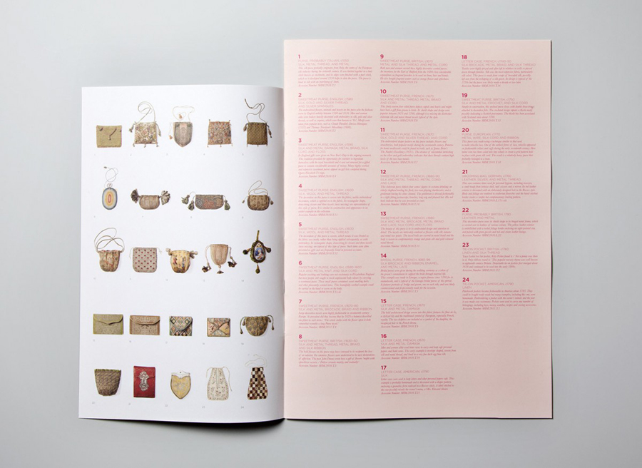 Gallery guide designed by Charlie Smith Design for the Simone Handbag Museum