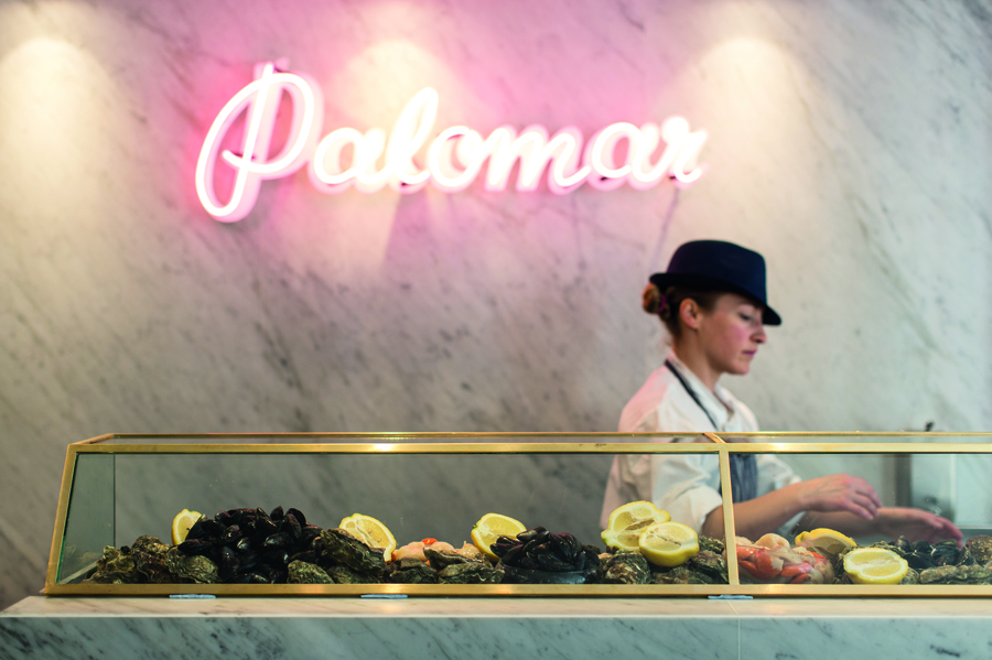 Logotype as neon signage designed by Here for Soho restaurant The Palomar