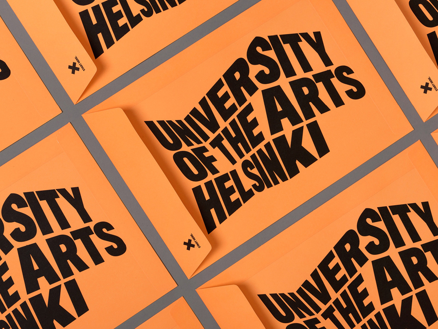 Print with fluorescent orange envelope and black ink detail designed by Bond for the University of the Arts Helsinki