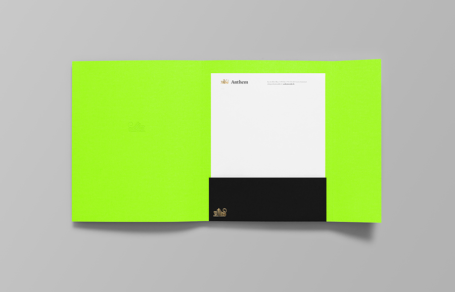 Folder and headed paper by Anagrama for football scout and transfer business Anthem
