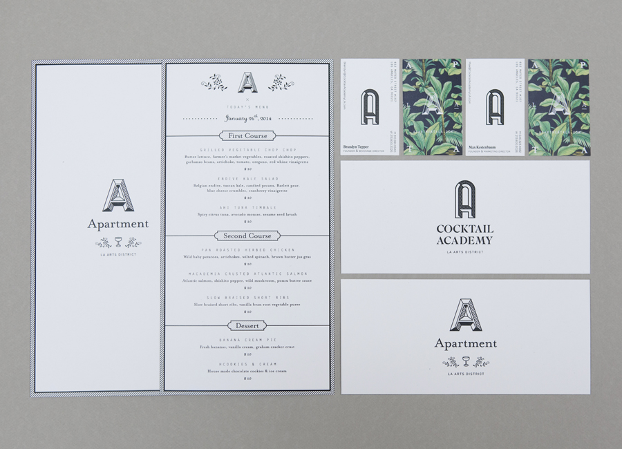 Business cards and menus for cocktail academy Apartment A designed by Say What Studio