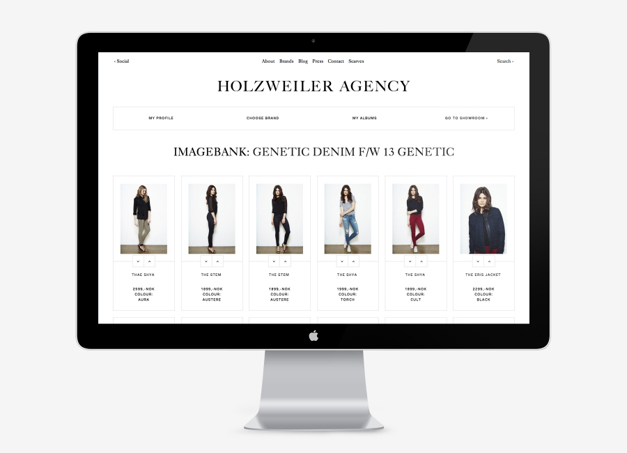 Logo and responsive website designed by Bielke+Yang for contemporary fashion distributor Holzweiler