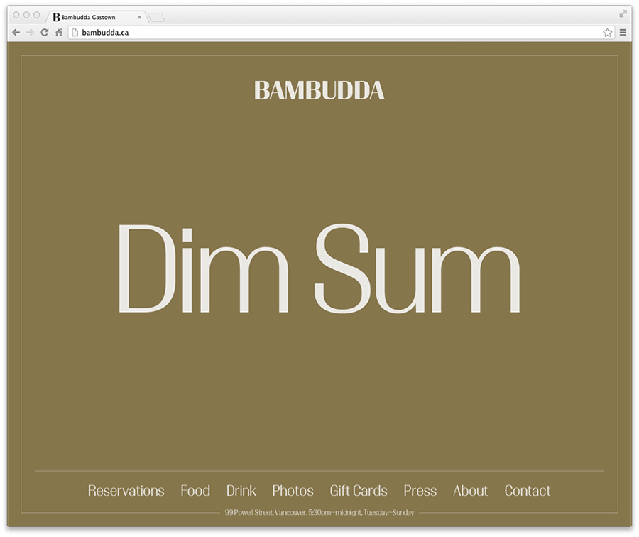 Logotype and website designed by Post Projects for Vancover-based Chinese restaurant Bambudda