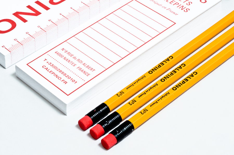 Logo and stationery with a single red ink detail designed by Studio Birdsall for French notebook brand and manufacturer Calepino