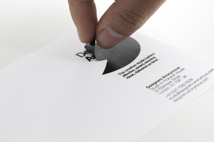 Logo and compliment slip with sticker detail created by Designers Anonymous