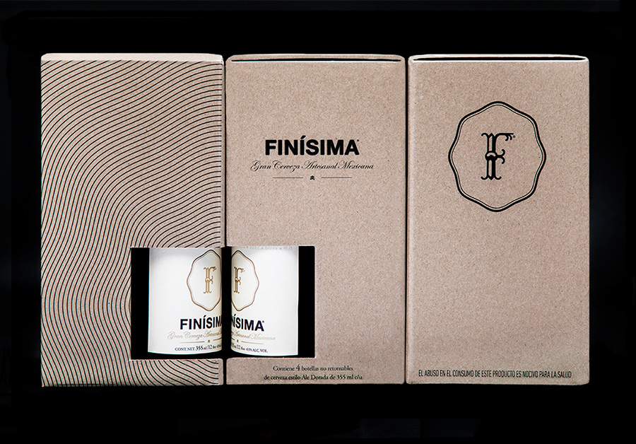 Uncoated unbleached corrugated card packaging designed by Savvy for premium craft beer label Finísima