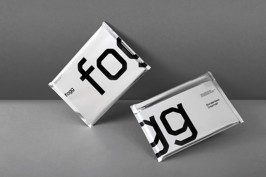 Silver foil communication packaging created by Kurppa Hosk and Bunch for international fixed cost mobile data traffic service Fogg