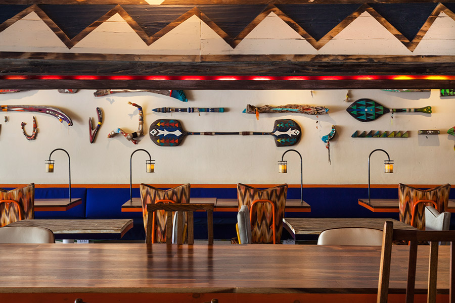 Interior for seafood restaurant La Peñita De Jaltemba designed by Savvy
