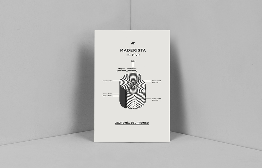 Logo and print by Anagrama for San Pedro-based carpentry studio Maderista