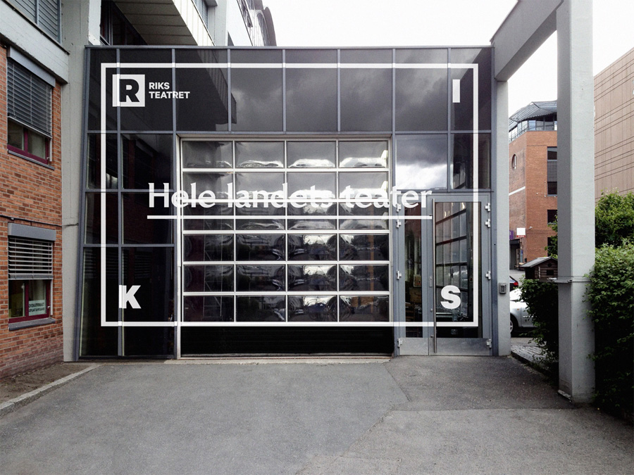 Logo and window decal designed by Bleed for Norway's national touring theatre Riksteatret