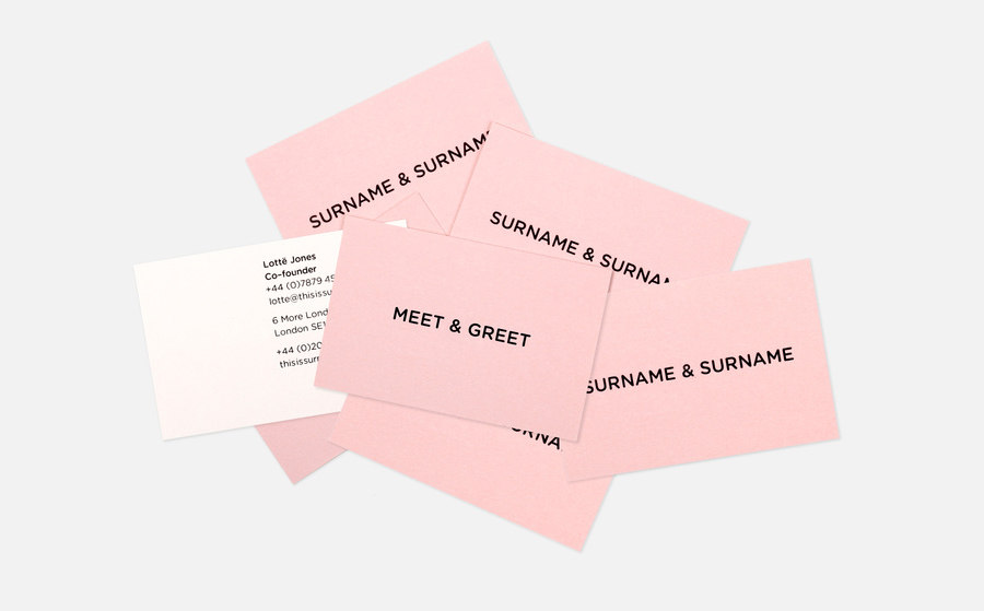 Logo and business card designed by NB Studio for consumer focused brand communications agency Surname & Surname