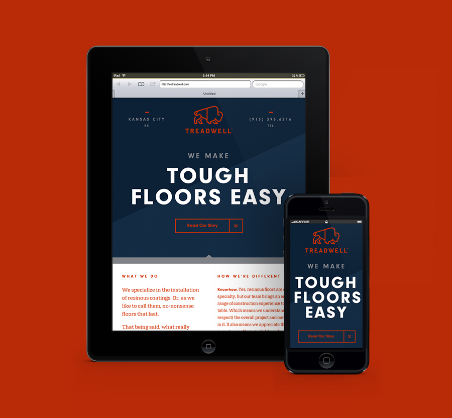 Logo and website designed by Perky Bros for floor specialist Treadwell