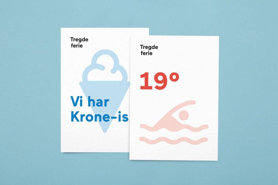 Logo, iconography and print designed by Neue for Norwegian coastal holiday resort Tregde Ferie