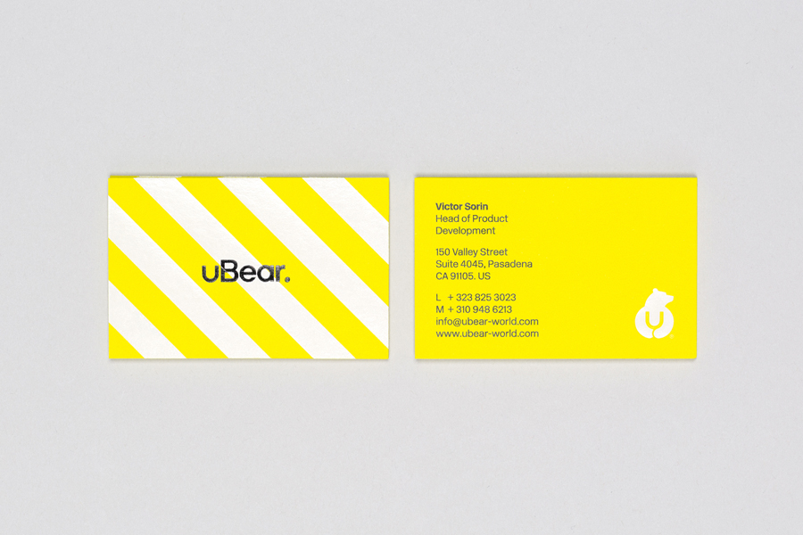 Logo and business card with black foil detail designed by Hype Type Studio for high end mobile phone, tablet and laptop accessories company U-Bear