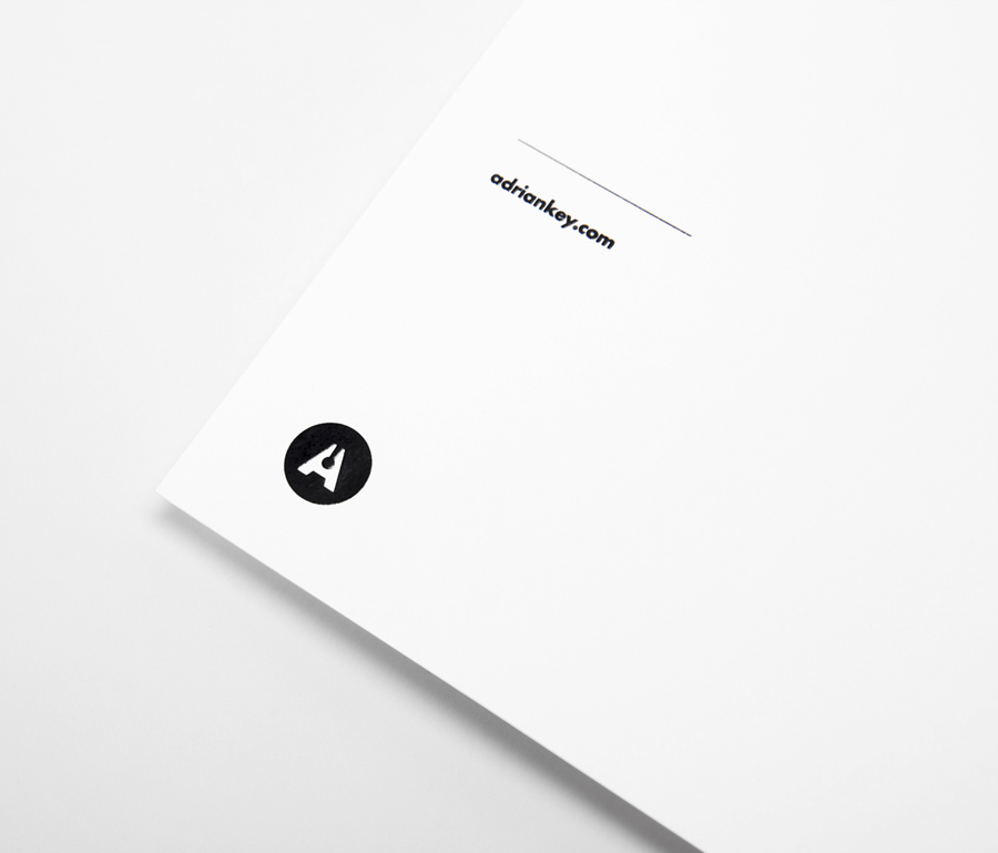 Logo and letterhead with thermographic ink detail designed by Face Creative for MX architecture firm and architect Adrián Key