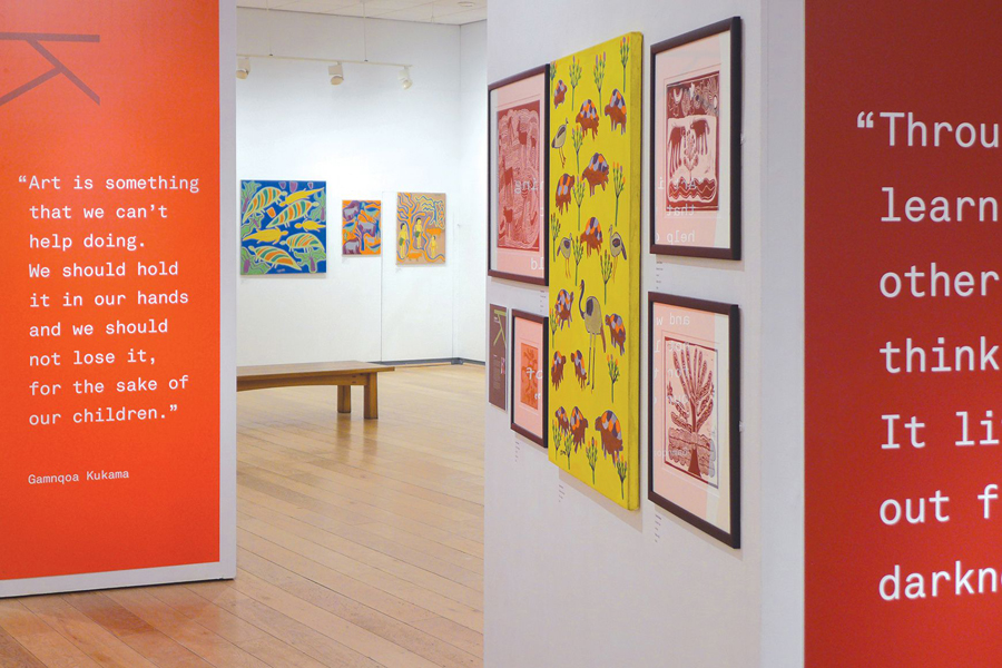 Exhibition space and graphics for Colours Of The Kalahari designed by Believe In