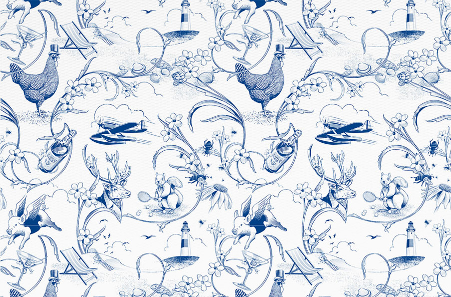 Illustration by Christopher Welsch commissioned by Moffitt.Moffitt for Sydney furniture and homeware retailer Hamptons House