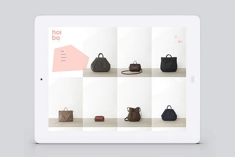 Website designed by Blok for luxury bag, clothing and accessories brand Hoi Bo