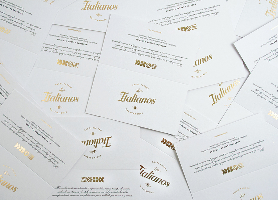 Logo and labels with gold foil detail designed by Huaman for Barcelona based traditional Italian food producer Los Italianos