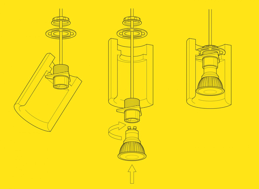 Light setup and installation instructions for Terence Woodgate designed by Charlie Smith Design
