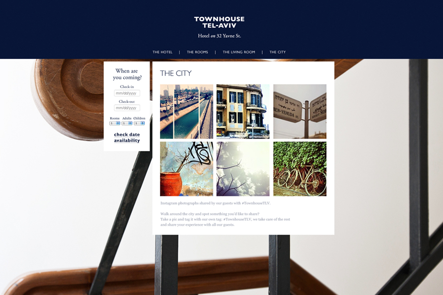 Website for Tel Aviv hotel Townhouse designed by Koniak