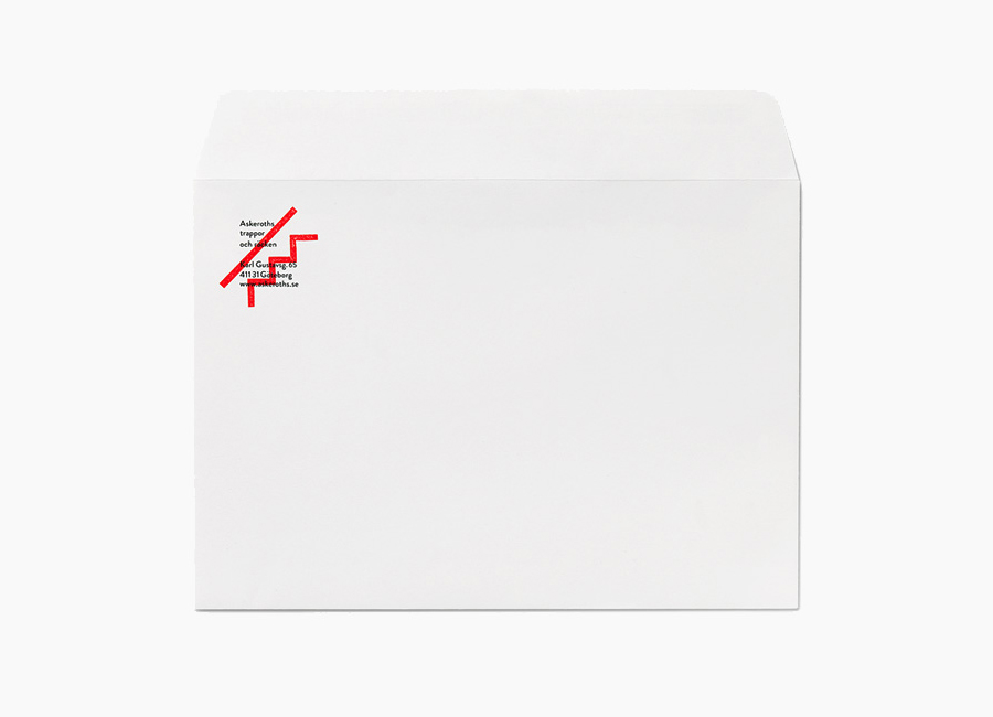 Logo and envelope with hand stamp detail designed by Bedow for Swedish specialist staircase manufacturer Askeroths Trappor Och Räcken-Bedow_on_BPO