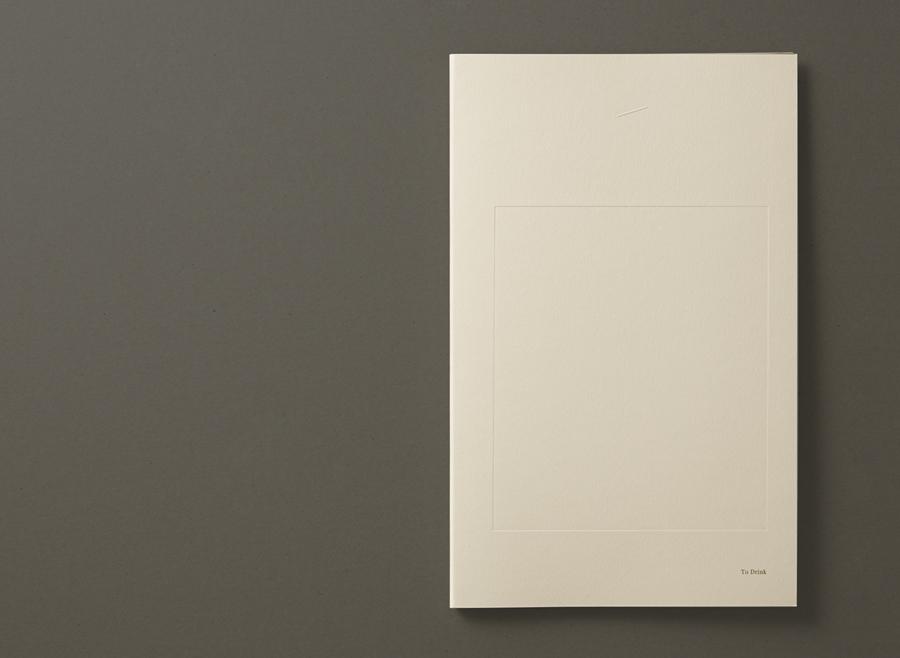 Menu with blind deboss detail designed by Studio Round for restaurant Brae