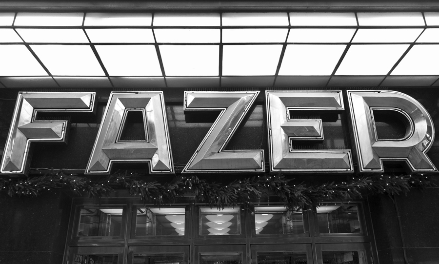 Original Fazer Cafe logotype and signage