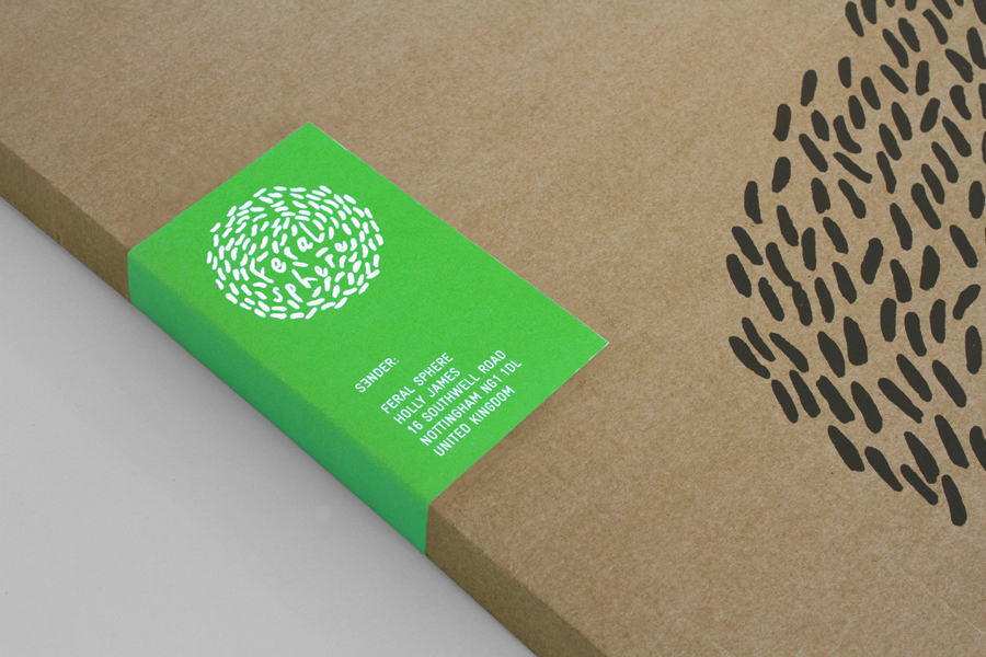 Logo and uncoated, unbleached packaging with a black ink print finish and a fluorescent green adhesive label detail designed by Mind for fashion label Feral Sphere