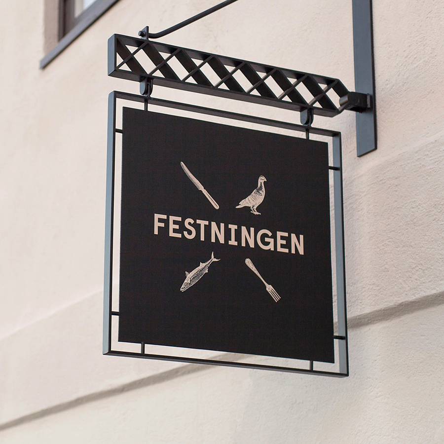 Logo and exterior sign aged designed by Uniform for Oslo brasserie Festningen