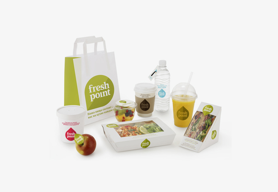 Logo and packaging created by Designers Anonymous for Russian fast food cafe Fresh Point.