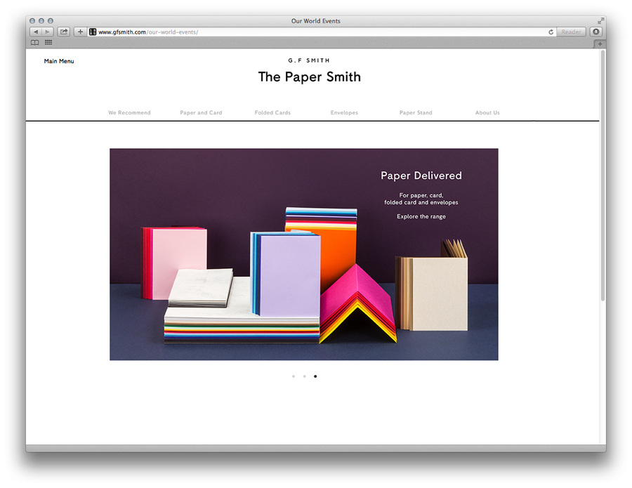 Website designed by Made Thought for British paper merchant G . F Smith