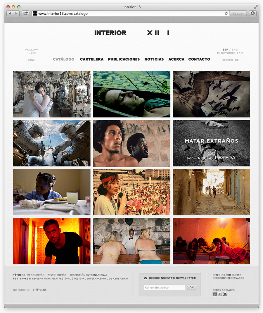 Logo and website designed by Anagrama for Interior 13, a distributor of auteur films and promoter of independent cinema