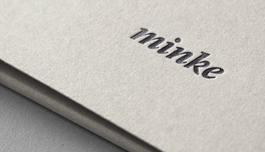 Debossed logo by Atipo for Spanish print production studio Minke