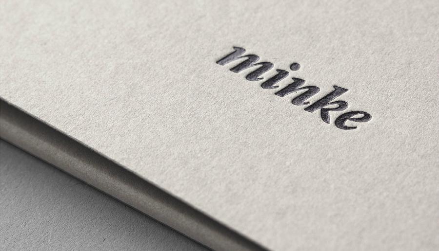 Debossed logo by Atipo for Spanish print production studio Minke