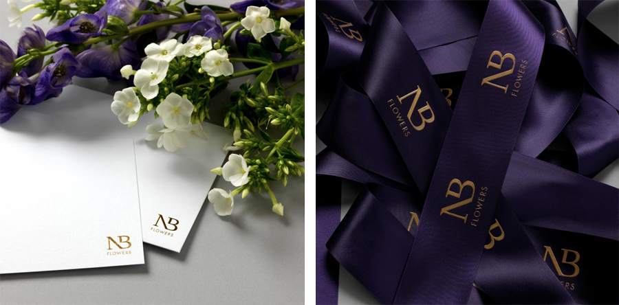 Logo and note card design for florist NB Flowers by Karoshi