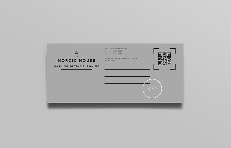 Logo and print designed by Anagrama for dry cleaning shop Nordic House