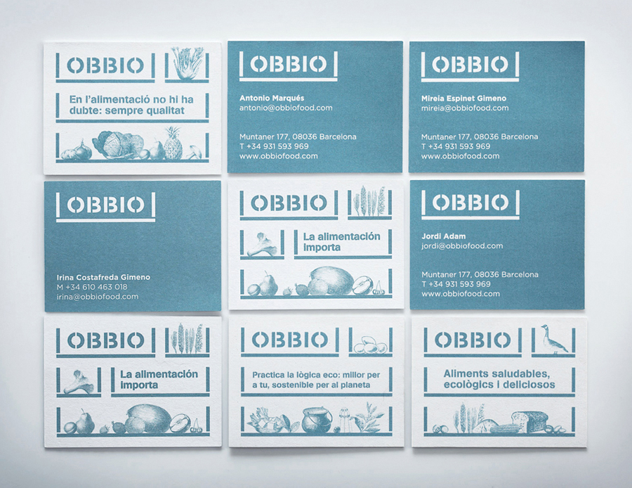 Logo and business cards designed by Mayuscula for Spanish organic supermarket Obbio