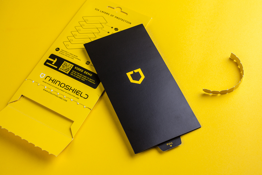 Packaging by Bravo Company for high impact screen protector Rhinoshield