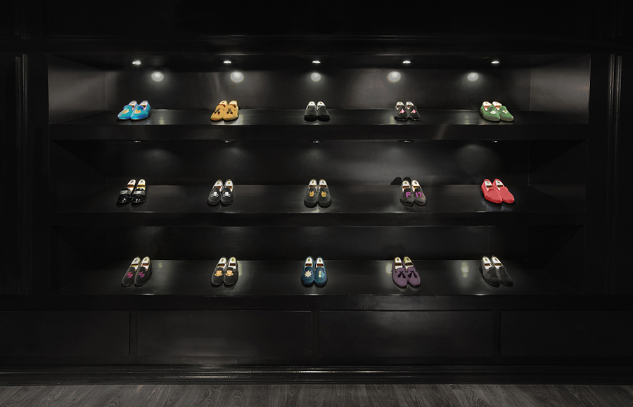 Shop interior for luxury slipper brand Romero+McPaul