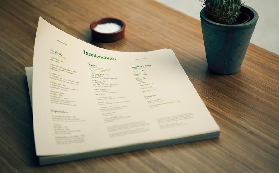 Menu for Taco República designed by Bielke+Yang