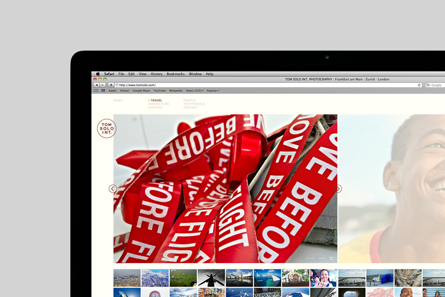 Website for photographer Tom Solo designed by Mash Creative