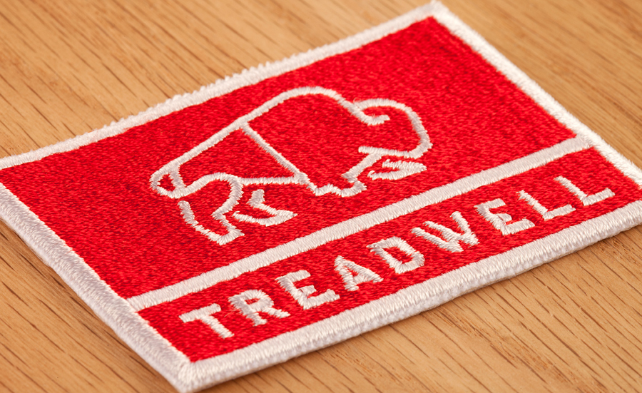 Logo as a stitched badge designed by Perky Bros for floor specialist Treadwell