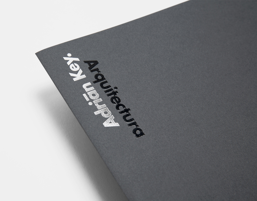 Logo and folder with thermographic ink and silver foil detail designed by Face Creative for MX architecture firm and architect Adrián Key
